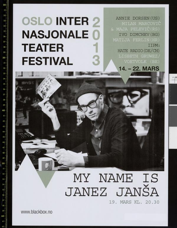 Plakat for Black Box Teaters festival Oslo Internasjonale Teaterfestival 2013