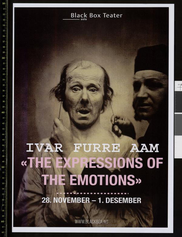 Plakat for Ivar Furre Aams produksjon The expressions of the emotions (2013).