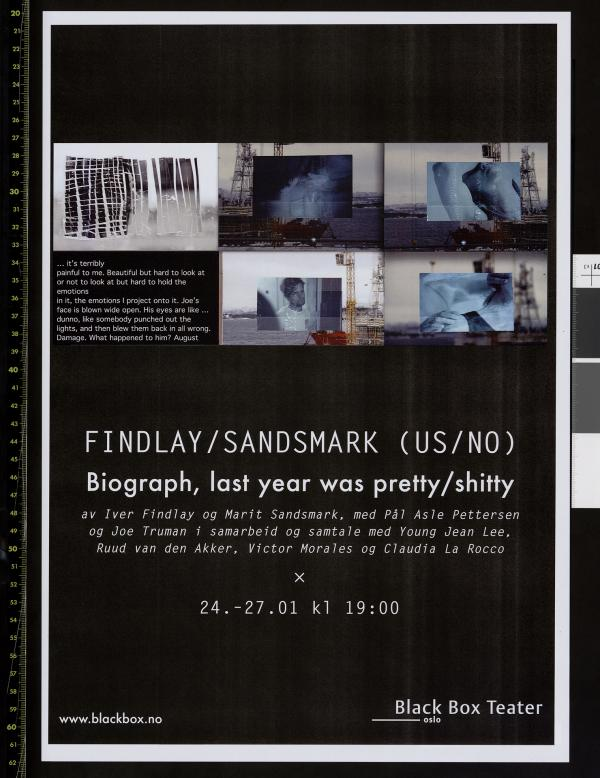 Plakat for Findlay/Sandsmarks produksjon Biograph, last year was pretty/shitty (2013)