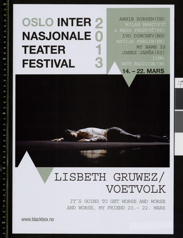 Plakat for Black Box Teaters festival Oslo Internasjonale Teaterfestival 2013.